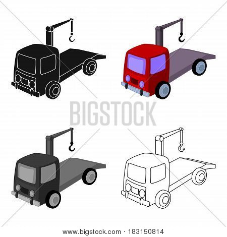Tow truck icon in cartoon design isolated on white background. Parking zone symbol stock vector illustration.