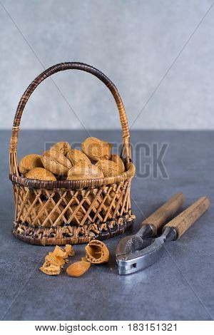 Almonds nuts in shell in wicked basket