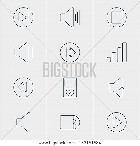 Vector Illustration Of 12 Melody Icons. Editable Pack Of Soundless, Advanced, Mp3 And Other Elements.