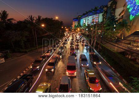 Bangkok , Thailand - April 21, 2017 : a lot of car traffic jam in city