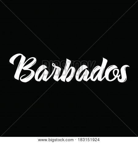 barbados, text design. Vector calligraphy. Typography poster. Usable as background.