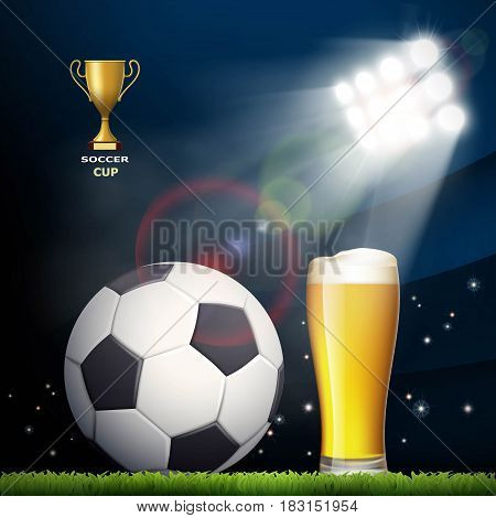 Soccer ball and a glass of beer in the stadium. Stock vector illustration.