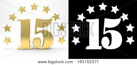 Golden number fifteen on white background with drop shadow and alpha channel decorated with a circle of stars. 3D illustration
