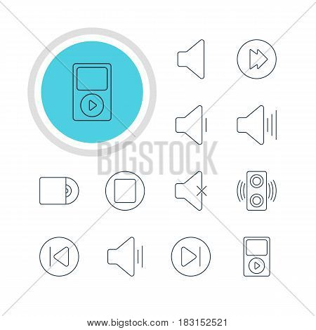 Vector Illustration Of 12 Melody Icons. Editable Pack Of Pause, Compact Disk, Advanced And Other Elements.