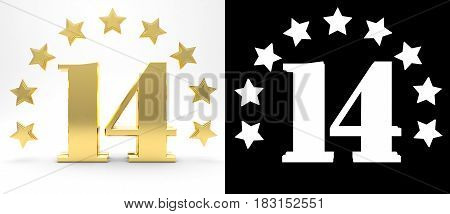 Golden number fourteen on white background with drop shadow and alpha channel decorated with a circle of stars. 3D illustration