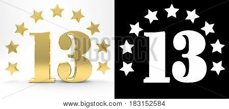 Golden number thirteen on white background with drop shadow and alpha channel decorated with a circle of stars. 3D illustration