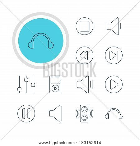 Vector Illustration Of 12 Music Icons. Editable Pack Of Lag, Reversing, Earphone And Other Elements.
