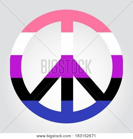 Gender Fluidity Pride Flag In A Form Of Peace Symbol