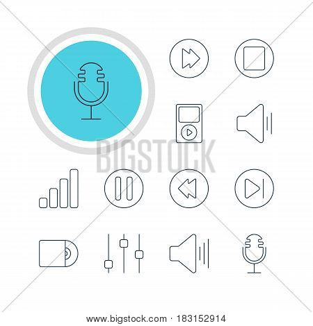 Vector Illustration Of 12 Music Icons. Editable Pack Of Audio, Compact Disk, Advanced And Other Elements.
