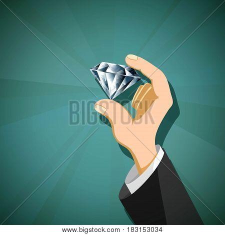 Jewel diamond in the human hand. Stock vector illustration.