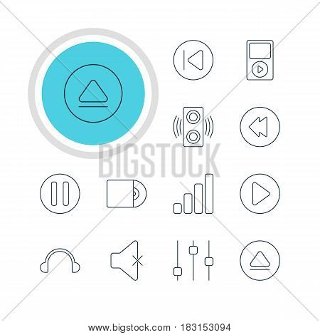 Vector Illustration Of 12 Melody Icons. Editable Pack Of Rewind, Lag, Acoustic And Other Elements.