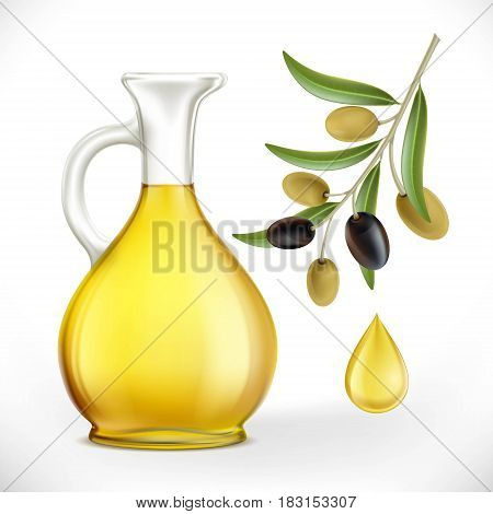 Glass jug with oil and olives with leaves on a branch. Stock vector illustration.