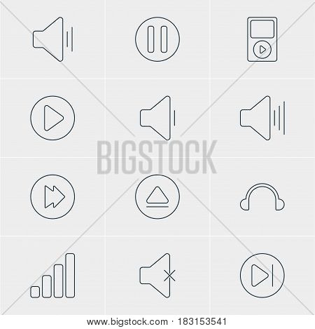 Vector Illustration Of 12 Melody Icons. Editable Pack Of Subsequent, Rewind, Start And Other Elements.