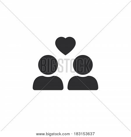 Favorite Group Symbol. Users With Heart Icon Vector, Solid Logo Illustration, Pictogram Isolated On