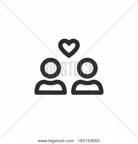 Favorite Group Symbol. Users With Heart Line Icon, Outline Vector Logo Illustration, Linear Pictogra