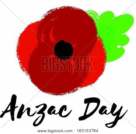 Vector illustration of a bright poppy flower. Remembrance day symbol. Anzac day phrase.