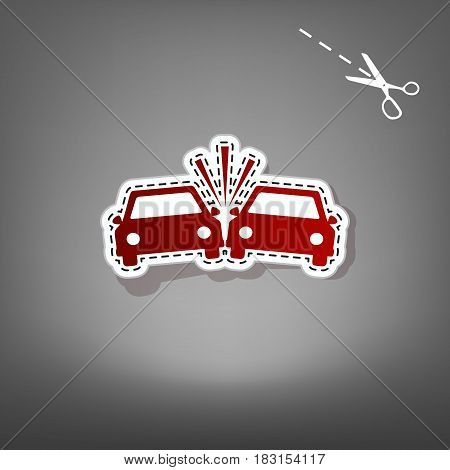 Crashed Cars sign. Vector. Red icon with for applique from paper with shadow on gray background with scissors.