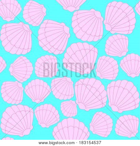 Seamless pattern with pink scallop shells. Vector illustration.