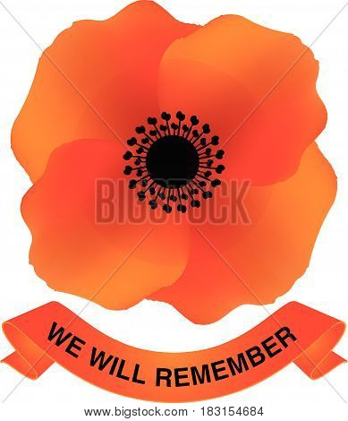 Vector illustration of a bright poppy flower. Remembrance day symbol. Anzac day. We will remember phrase with a ribbon.
