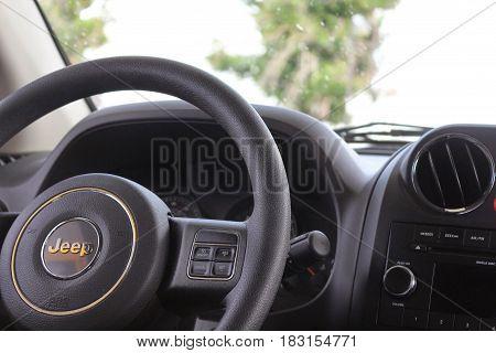 Nahaufname des Lenkrats eines Jeeps mit Aussicht