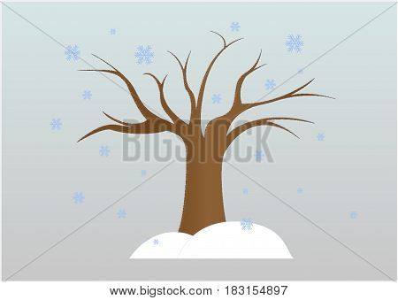 lonely winter tree and snowflakes, vector, horizontal