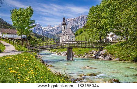 Church Of Ramsau, Berchtesgadener Land, Bavaria, Germany