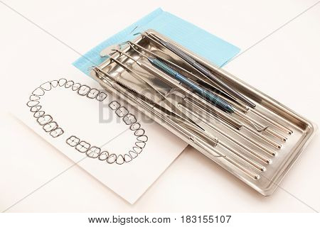 Different dental tools and accessory for teeth care in the tray. Isolated on white background.