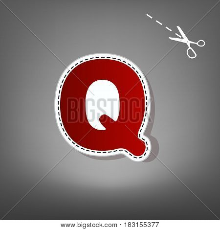 Letter Q sign design template element. Vector. Red icon with for applique from paper with shadow on gray background with scissors.