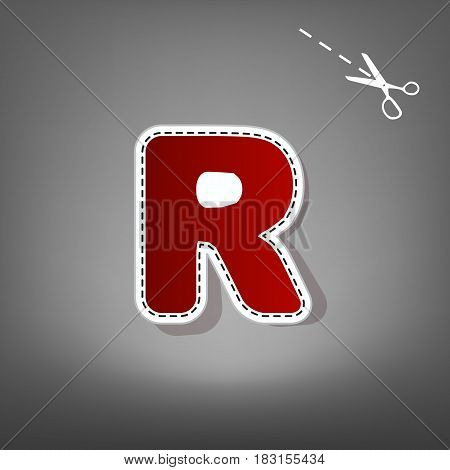 Letter R sign design template element. Vector. Red icon with for applique from paper with shadow on gray background with scissors.