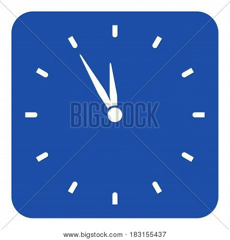 blue rounded square information road sign with white last minute clock icon