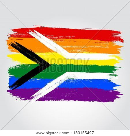 South Africa Pride Flag In A Form Of Brush Stroke