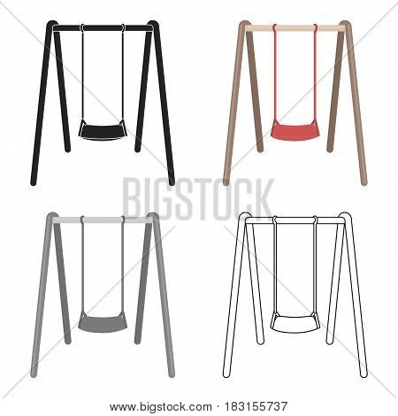 Swing seat icon in cartoon style isolated on white background. Park symbol vector illustration.