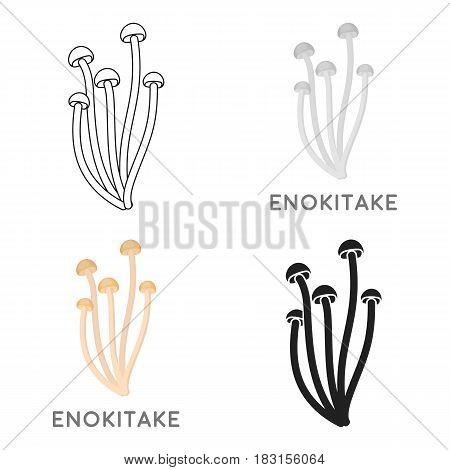 Enokitake icon in cartoon style isolated on white background. Mushroom symbol vector illustration.