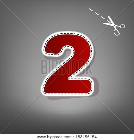 Number 2 sign design template elements. Vector. Red icon with for applique from paper with shadow on gray background with scissors.