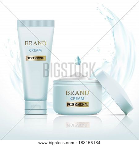 Set of containers with cosmetic cream. Splashes and drops of water. Stock vector illustration.