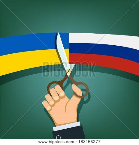 Scissors cut the flags of Russia and Ukraine. Stock vector illustration.