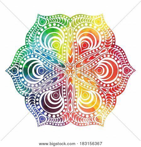 Flower mandala design in oriental style. Watercolor texture and splash.
