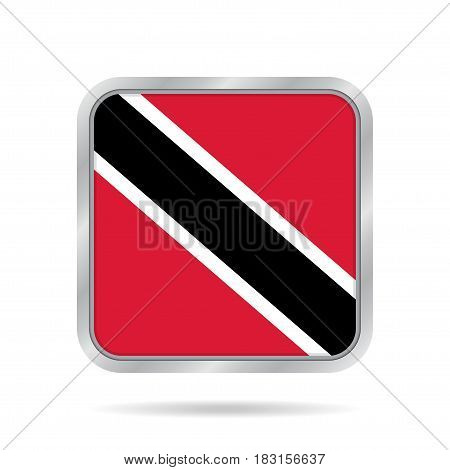 National flag of Trinidad and Tobago. Shiny metallic gray square button with shadow.