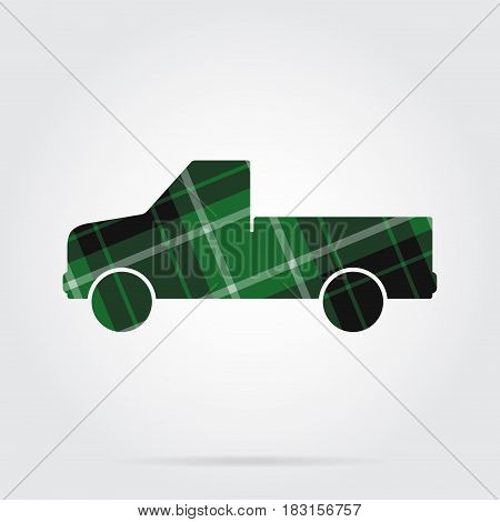 green black isolated tartan icon with white stripes - pickup with a flatbed and shadow in front of a gray background