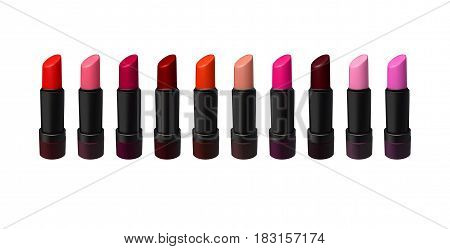 Lipstick set on white background. Beauty and fashion illustration. Vector created with gradient mesh. Makeup collection