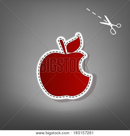 Bite apple sign. Vector. Red icon with for applique from paper with shadow on gray background with scissors.
