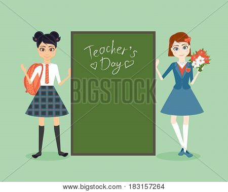 Schoolgirl character. Cartoon vector flat illustration. Congratulation on teacher day. Girls friend pupil in school uniforms. A student in a traditional school uniform.