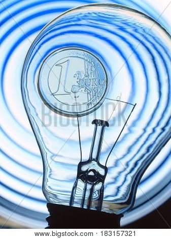 Electric light bulb isolated on a blue background