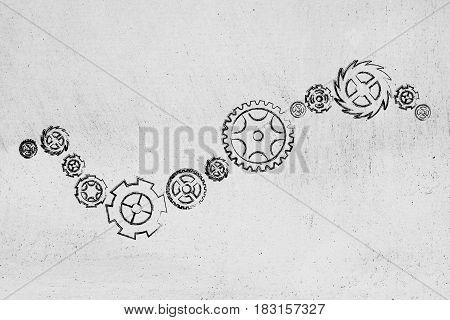 Set Of Different Gearwheels, Rackwheels And Cogwheels