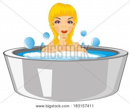 Making look younger beautiful girl teenager bathes in basin