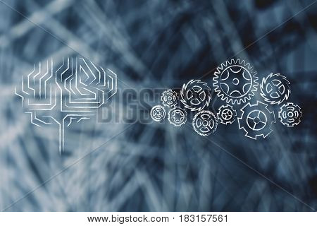 Electronic Brain Next To Complex Gearwheel Mechanism