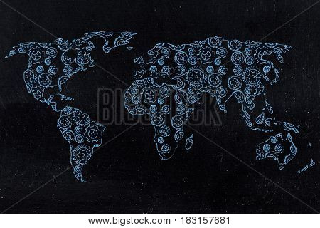 World Map With Continents Made Of Gearwheels