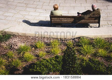 Back View Of Two People Sitting On Bench