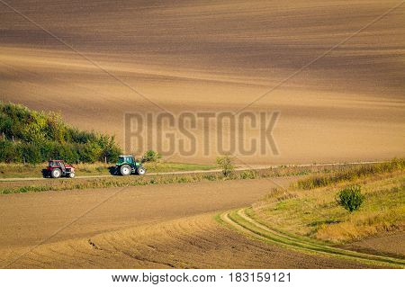 Panoramic view of cultivated field in South Moravia Czechia. Beautiful wavy fields.
