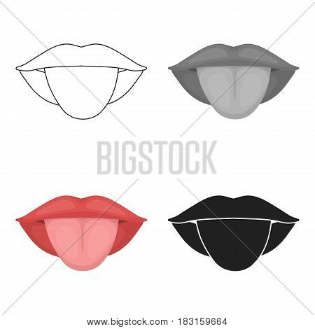 Tongue icon in cartoon style isolated on white background. Part of body symbol vector illustration.